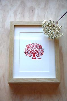 Red love Tree of life, Scandinavian Folk Style, letterpress 5x7 print. $15.00, via Etsy.