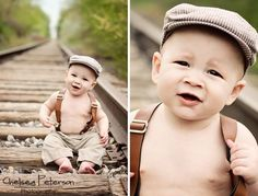 Suspenders and train tracks are awesome for your little boy's 6 month or one year photo session