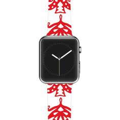 "Miranda Mol ""Ornate Trees White"" Red Holiday Apple Watch Strap"