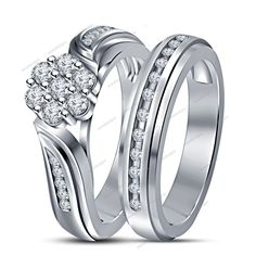 White Gold Finish 1.30 Carat Round Diamond Flower Shape Bridal Set In 925 Silver…