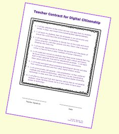 A free printable digital citizenship contract for teachers... let's vow to be good guides and models for our learners!