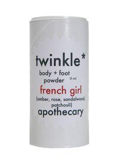 French Girl Body + Foot Powder | 100% natural, vegan, handcrafted deodorant powder | amber, rose, sandalwood, patchouli fragrance