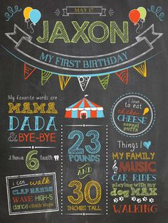 "Custom chalkboard style boy first birthday circus carnival poster. Digital file or 18 x 24"" Printed on board, includes high res digital file. https://www.etsy.com/shop/ChalkDustDesign"
