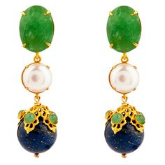 Chrysoprase, Pearl, Emerald & Lapis Convertible Earrings Fantasy Jewelry, Convertible, Jewelry Box, Emerald, Pearl, Drop Earrings, Jewels, Handbags, Zapatos