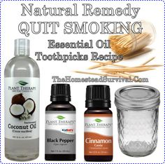 Natural Remedy QUIT SMOKING Essential Oil Toothpicks Recipe Homesteading - black pepper oil, cinnamon oil, and coconut oil Natural Home Remedies, Natural Healing, Herbal Remedies, Health Remedies, Natural Life, Holistic Remedies, Natural Living, Quit Smoking Essential Oils, Help Quit Smoking