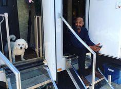 Grant Gustin's dog and Jesse L. Martin