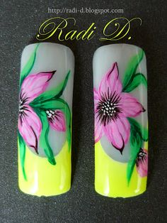 It`s all about nails: Step by Step Yellow neon french and flowers