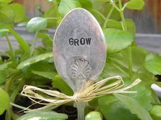 GROW  garden marker spoon  hand stamped  by WhisperingMetalworks