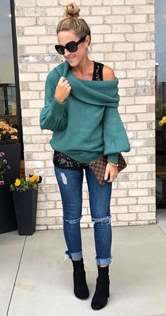 db6733f8002b  fall  outfits women s dark-green sweater and distressed blue denim jeans  outfit