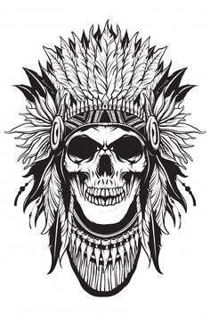 Apache skull thief with outline shape Pr. Indian Tattoo Design, Skull Tattoo Design, Tattoo Sleeve Designs, Tribal Sleeve Tattoos, Native American Tattoos, Native Tattoos, Desenho New School, Indian Skull Tattoos, Totenkopf Tattoos