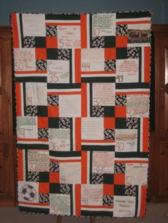 Gift for soccer coach - custom quilt with player numbers, signed by the team. Soccer Coach Gifts, Hockey Coach, Basketball Gifts, Team Gifts, Soccer Coaching, Life Coaching, Soccer Tournament, Football Is Life, Team Mom
