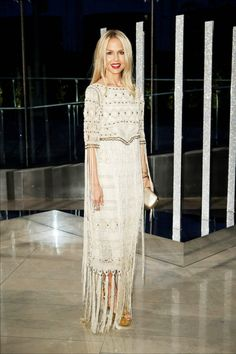 @rachelzoe wearing a custom gold macrame dress from her collection at the 2015 CFDA Awards