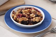 Celebrate rhubarb season with this delicious old-fashioned fruit crisp. (While you're at it, you may as well throw some blueberries in there!) This Rhubarb-Berry Crisp recipe is a keeper!