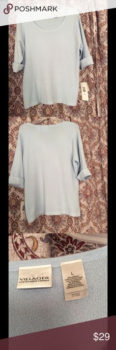 Liz New light blue short sleeve sweater. Soft and stretchy. Acrylic, Nylon, Spandex. Other specials or discounts do not apply Liz Claiborne Sweaters Crew & Scoop Necks