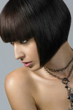 Strong Dark Bob with straight across bangs