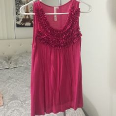 Super cute - hot pink - ruffled blouse Like new. Worn once Tops Blouses