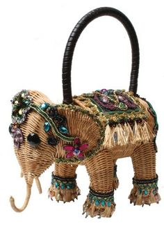 Mary Frances Delhi Elephant Rattan Handheld Handbag ...