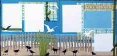Scrapbook Page Kits 12x12 Vacation themed layouts Lilly Pad Pages (love the scene at the bottom with the fence, birds, etc!)