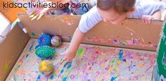 ball painting - so fun!  variety of balls, dipped in paint, then rolled around on a canvas inside a cardboard box.  Awesome.