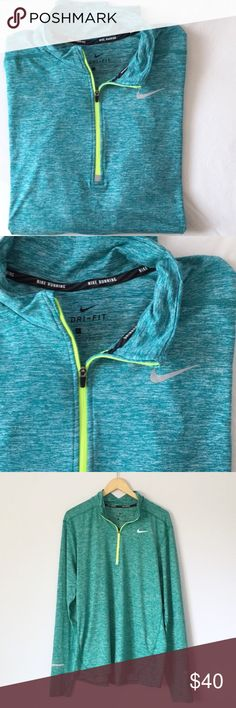 "NWOT men's Nike dri fit long sleeve half zip shirt NWOT men's Nike dri fit long sleeve half zip workout top. Silky soft and stretchy athletic/athleisure material, with thumbholes. From ""Nike running"" line. Never worn, brand new condition! Nike Shirts Tees - Long Sleeve"