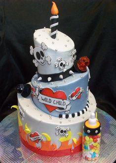 """rocker"" theme first birthday cake"