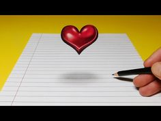 Drawing Tips Drawing a Floating, Levitating Heart, Anamorphic Trick Art - 3d Pencil Art, 3d Pencil Drawings, 2b Pencil, 3d Art Drawing, Color Pencil Art, Drawing Tips, 3d Illusion Drawing, Illusion Art, Love Heart Drawing