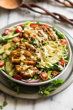 Grilled Chicken Shawarma Salad with Tahini Dressing - Dinner Paleo Healthy Salad Recipes, Meat Recipes, Paleo Recipes, Real Food Recipes, Cooking Recipes, Recipes Dinner, Recipes With Tahini, Grilled Chicken Salad, Grilled Chicken Recipes