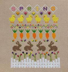 Spring Sampler, celebrating the fresh new beginnings. Flowers blooming, little chickens and bunny ra Tiny Cross Stitch, Cross Stitch Tree, Cross Stitch Borders, Cross Stitch Samplers, Modern Cross Stitch, Cross Stitch Charts, Cross Stitch Designs, Cross Stitching, Cross Stitch Embroidery