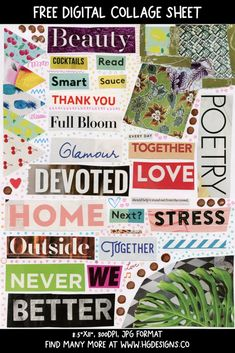 Free Download: Digital Printable Collage Sheet – HG Designs Free Collage, Digital Collage, Collage Art, Collage Sheet, Stress, Printables, Feelings, Reading, Day