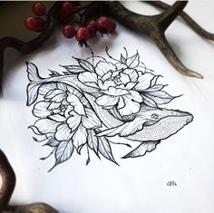 #tatto #flores #ballena #blackandwhite