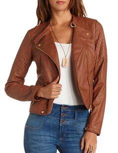 Stitched Shoulder Motorcycle Jacket: Charlotte Russe