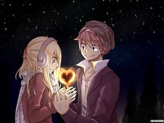 Nalu, Natsu Dragneel, Lucy Heartfilia, Fairy Tail, Love, Stars, Salamander