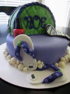 Mani Pedi Spa Cake!    Her 11th Birthday Party Cake.