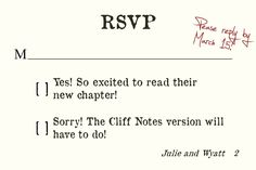 Literature Lover Wedding Invitation-Matching RSVP