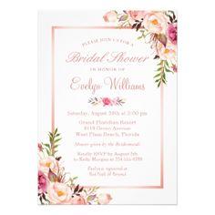 #bridal #shower #invitations - #Elegant Chic Rose Gold Floral Bridal Shower Card