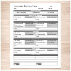 Printable housekeeping log for your detailed cleaning service tracking needs. A printable Housekeeping Log for homeowners and cleaning professionals to use to log the cleaning services performed in a