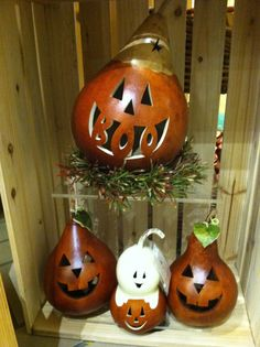 Boo! Halloween gourd with small little gourd friends. #HappyHalloween, Boo, Carved