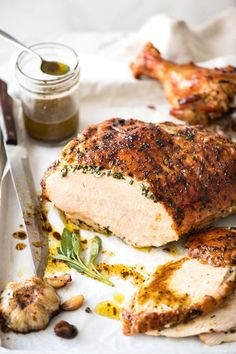 Garlic Herb Roasted Turkey Breast with herb butter smeared under the skin which bastes the turkey as it roasts. Juicy inside, golden skin, this is epic!