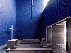 Dominikuszentrum by Meck Architekten    The dominant material used for the building is a red peat-fired brick, with the main chapel space lined with blue-glazed brick.