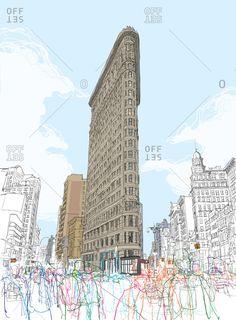 The Flatiron building VWD by Rupert Van Wyk Building Drawing, Building Art, Graphisches Design, Flatiron Building, New York Art, A Level Art, Landscape Drawings, Urban Sketchers, Urban Art