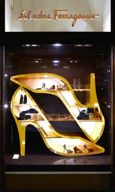 No one does it beter than the Salvatore Ferragamo pumps display concept. Simply awesome!!!