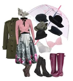 """""""Rain day"""" by ashley-johnson-xvi on Polyvore featuring Burberry, Smartwool, Hunter, LOFT, Chicwish, Boohoo, 1928, New Look, Monki and Nine West"""
