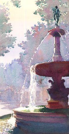 Michael Reardon - watercolor fountain