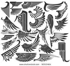 stock vector : Big Set sketches of wings  http://www.shutterstock.com/similar-108258878/stock-vector-art-deco-eagle-motives.html#