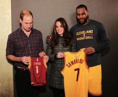 middletonroyalty:  Cambridges Visit to USA, December 8, 2014-The Duke and Duchess of Cambridge received their own jerseys as well as a little one for Prince George courtesy of NBA legend LeBron James