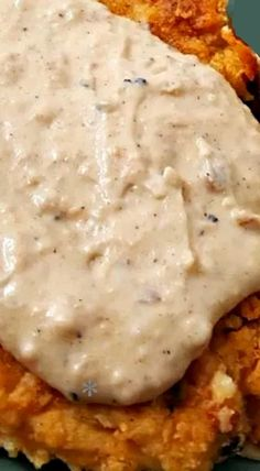 Chicken Fried Chicken and Gravy - juicy, tender, seasoned crispy oven baked breaded chicken smothered in white southern style milk and pepper gravy. Oven Baked Breaded Chicken, Fried Chicken Gravy, Country Fried Chicken, Fried Chicken Breast, Oven Chicken, Fried Chicken Recipes, Recipe Chicken, White Chicken Gravy Recipe, Chicken Breasts