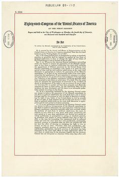 """This act was signed into law on August 6, 1965, by President Lyndon Johnson. It outlawed the discriminatory voting practices adopted in many southern states after the Civil War, including literacy tests as a prerequisite to voting.This """"act to enforce the fifteenth amendment to the Constitution"""" was signed into law 95 years after the amendment was ratified."""