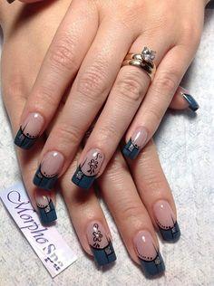 nice blue Fabulous Nails, Gorgeous Nails, Pretty Nails, Gold Glitter Nails, Silver Nails, French Nail Art, French Tip Nails, Claw Nails, Toe Nails