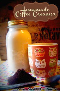 Homemade Coffee Cream Base~ Just think - almond joy at my fingertips - yes!  http://www.savvyshoppercentral.com/homemade-coffee-creamer/