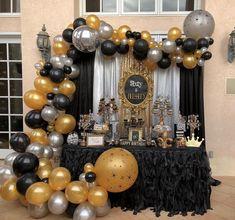 - New Deko Sites 60th Birthday Decorations, 70th Birthday Parties, Gold Birthday Party, Birthday Backdrop, 50th Party, Gold Party, Birthday Balloons, Birthday Ideas, Ideas Party